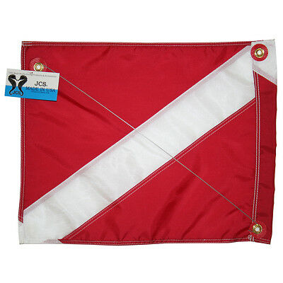 Nylon Dive Flag (Nylon Dive Flag w/ Brass Grommets & Steel Spring Wire Stiffener,)