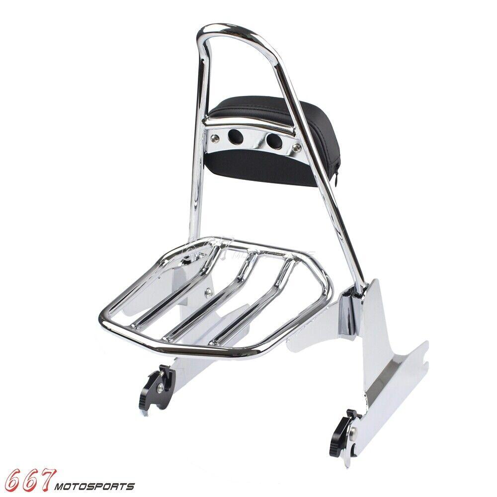 Chrome Motorcycle Sissy Bar Backrest Amp Luggage Rack For