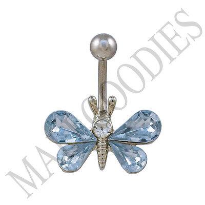 Stone Light Blue Navel Ring (B117 Light Blue Butterfly Gem Crystal Cubic Zirconia Stone Belly Navel Ring)
