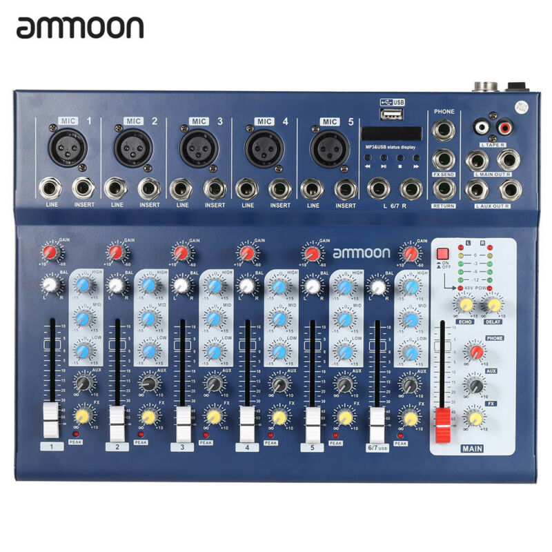ammoon F7-USB 7-Channel Digital Mic Line Audio Sound Mixer Mixing Console