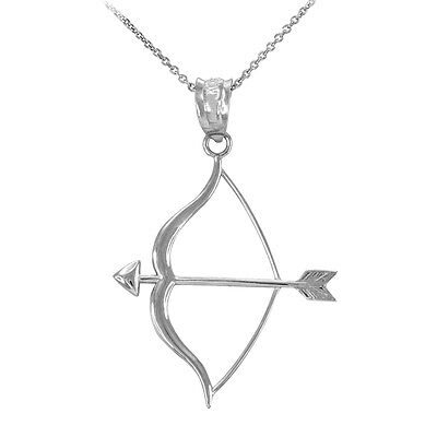 Polished 10k White Gold Aim Bow and Arrow Goals Pendant Necklace