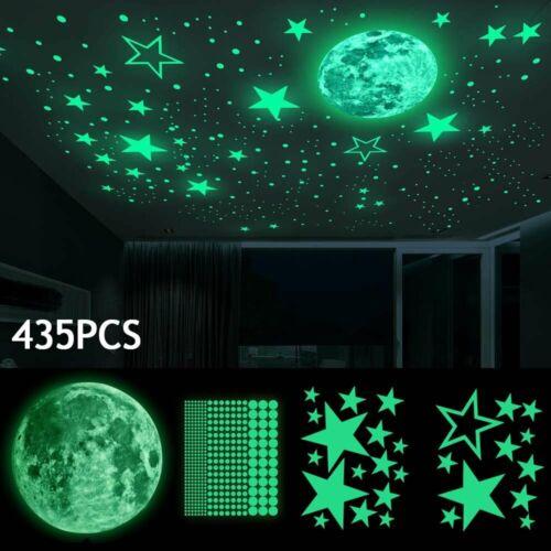 435pcs Glow In The Dark Luminous Stars & Moon Wall Stickers Decal Kid Room Decor