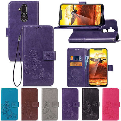 Leaf Phone Cover - Four-leaf clasp embossed Leather Flip Magnetic Card Wallet Phone Case Cover