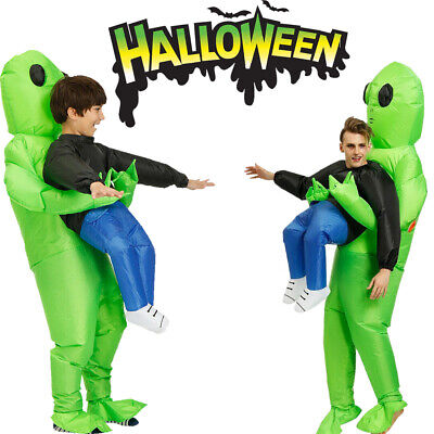 Monster Costume Women's Scary Halloween Inflatable Blow Up Suit Men Green Alien