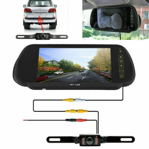 "7"" HD Backup Camera Mirror Parking System Kit Car Rear View Reverse Night Vision"
