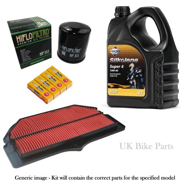 Kawasaki ER500 ER5 Service Kit -Air & Oil Filter Silkolene Oil + Spark Plugs