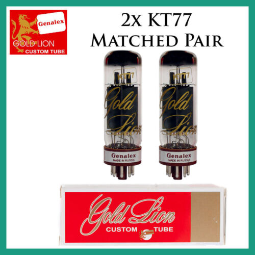New 2x Genalex Gold Lion KT77 / EL34   Matched Pair / Duet / Two Tubes Free Ship