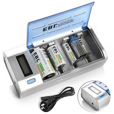 EBL Universal Smart LCD Charger For 9V AA AAA C D Ni-MH/Cd...