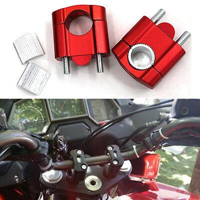 2x Motorrad Lenkerversatz Lenkerverlegung CNC Alu Lenkererhöhung 22-28mm Rot