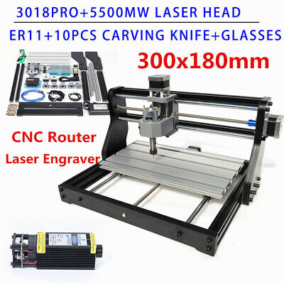3 Axis Wood Pcb Engraving Diy Cnc 3018 Pro Machine Router W 5500mw Laser Head
