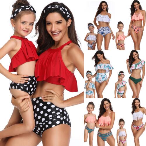 Women Kids Two Piece Red High Waist Bikini Set Parent-child Swimwear Swimsuit UK