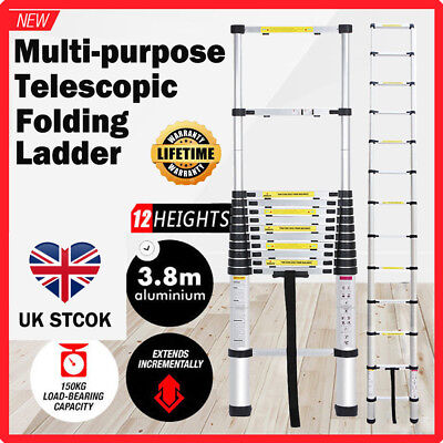 3.8M Multi Purpose Aluminium Telescopic Ladder Extension Extendable Heavy Duty