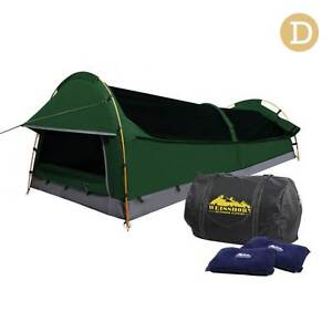 FREE SHIPPING - Double Camping Canvas Swag Tent Green w/ Air Pill Brisbane City Brisbane North West Preview