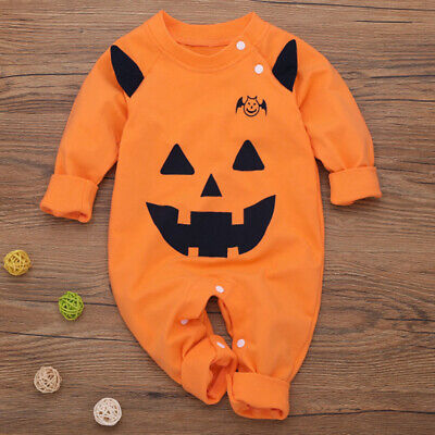 Baby Mädchen Junge Halloween Outfit Kleidung Brief Kürbis Crawl Anzug - Kostüm Anzug Outfit