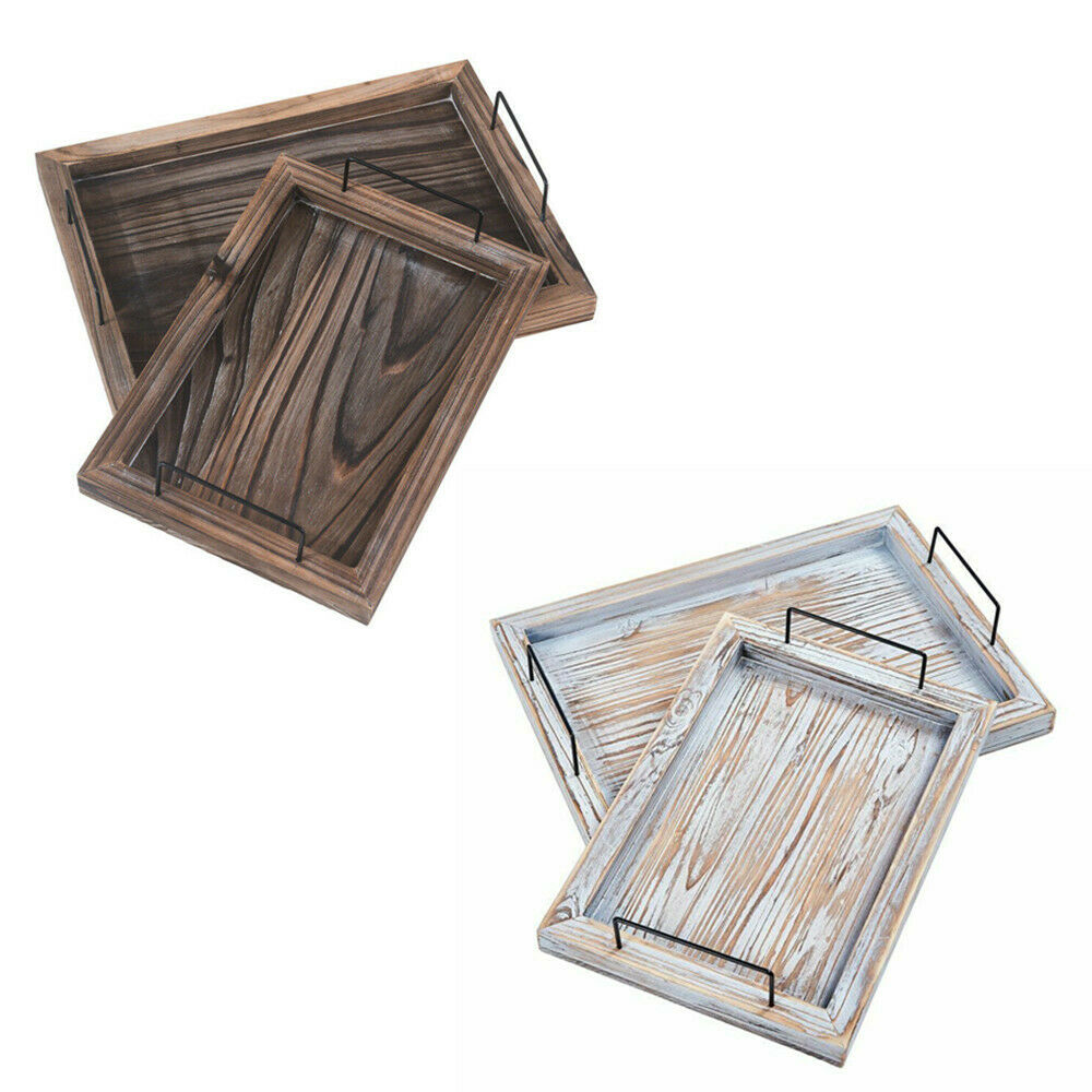 Serving Tray Sets Vintage Rustic Ottoman Trays with Metal Ha
