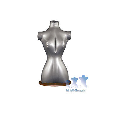 Inflatable Female Torso Silver And Wood Table Top Stand Brown