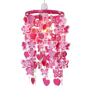 Girls Bedroom / Nursery Pink & Red Hearts & Butterflies Ceiling Light Lampshade