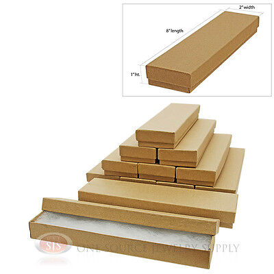 12 Kraft Cotton Filled Jewelry Gift Boxes Cardboard 8 X 2