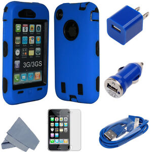 3 Piece High Impact Combo Hard Rubber Case for Apple iPhone 3G/3GS Black/Blue