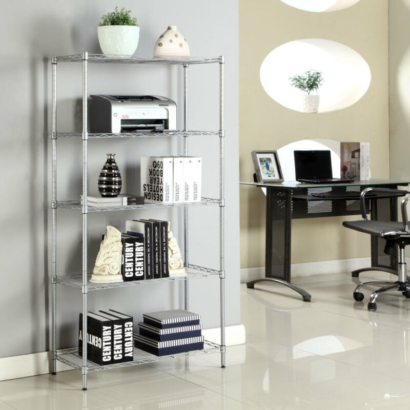 5 Tier Garage Wire Metal Shelving Space Saving Commercial Steel Storage Shelf