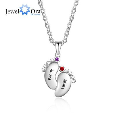 Personalized Feet Name Necklace Birthstone 925 Sterling Silver Gift for Mom New Name Necklace