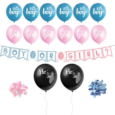Gender Reveal Balloons Decorations Giant Big Black Balloons Pink Blue Confetti
