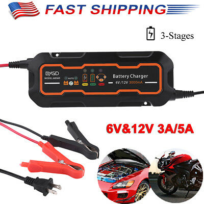 (Waterproof 6V&12V 3A/5A Smart Car Battery Charger 3-Stage Maintainer&Desulfator)