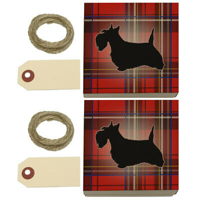 Scottie Dog on Red Plaid Scottish Terrier Kraft Gift Boxes Set of 2