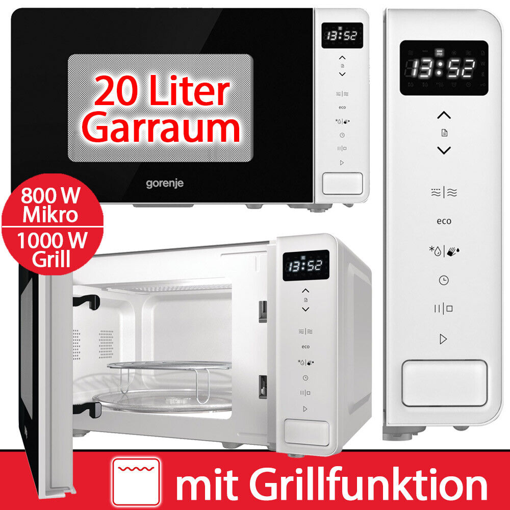 Gorenje Mikrowelle Grill 20 Liter Mikro 800W Kombi Display weiß 2in1 Microwave