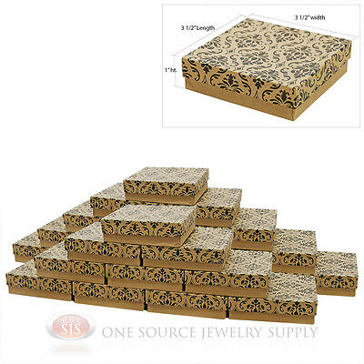 25 Damask Print Cotton Filled Jewelry Gift Boxes 3 12 X 3 12 Bracelet Box
