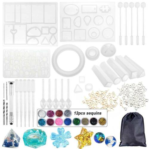 83Pcs Resin Casting Molds Kit Silicone Making Jewelry DIY Pe