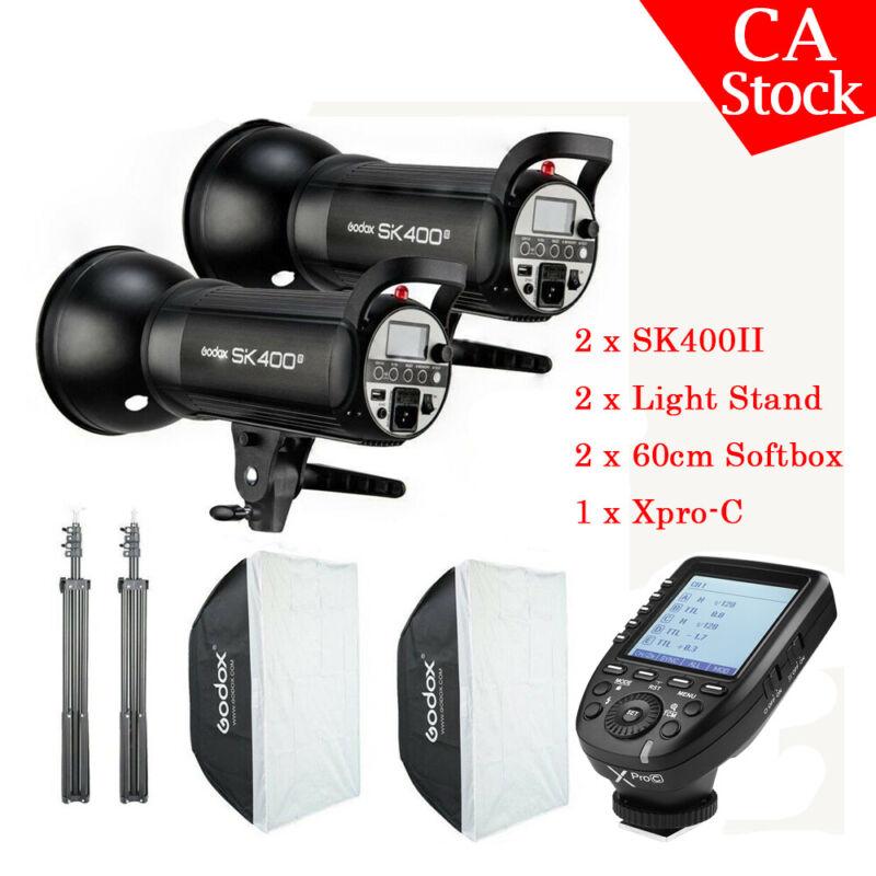 US 2x Godox SK400II 400W 2.4G Studio Strobe Flash Softbox Light Stand Xpro-C