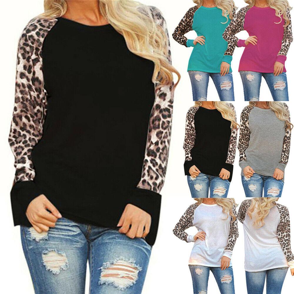Womens Leopard Print Blouse Long Sleeve Plus Size Xmas T-Shi