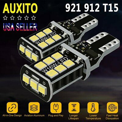 2x AUXITO CANBUS T15 921 912 Super White 32W LED Backup Reverse Light Bulb W16W