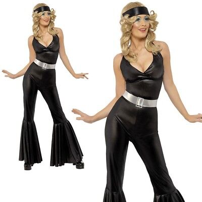 Ladies 1970s Disco Diva Fancy Dress Costume Black Jumpsuit Flares Outfit UK (Disco Diva Kostüm Uk)