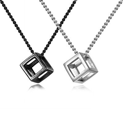 Charm Men Stainless Steel Cube Pendant Necklace Chain 24