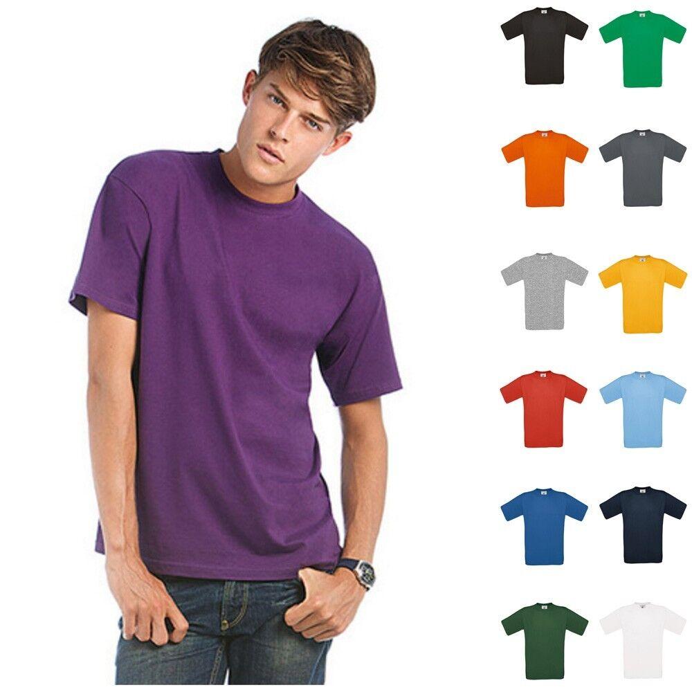 B&C T-Shirt Exact 190 Herren kurze Ärmel Mann Premium Kurzarm Shirt Größe S-4XL