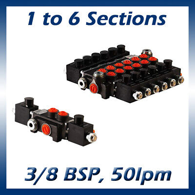 Hydraulic Solenoid Control Spool Valve 38 12 Bsp 50lpm 1-6 Bank 12 24v