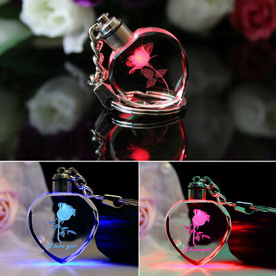 Colorful Fairy Crystal Rose LED Light Keychain Love Heart Key Chain Keyring - Fairy Key