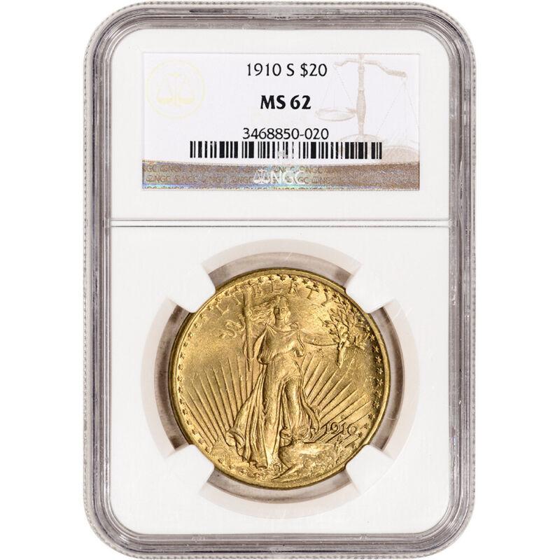 1910-S US Gold $20 Saint-Gaudens Double Eagle - NGC MS62