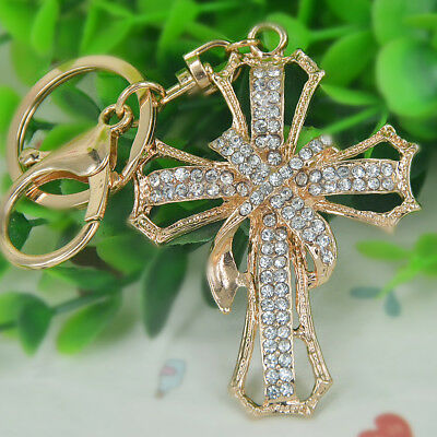 Cross Keychain (New Cross Keyring Rhinestone Crystal Pendant Bag Keychain Love Christmas)