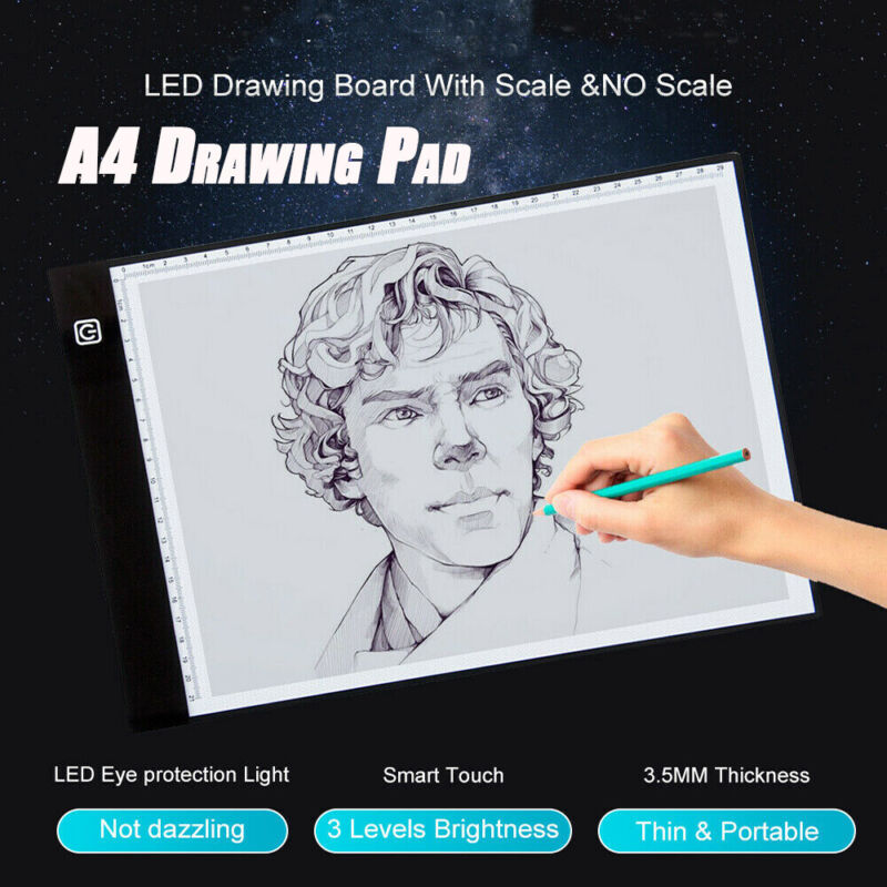 A4 LED Light Box Ultra-Thin Drawing Boards Tracing Pad with Scales USB Power US
