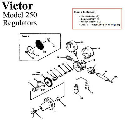 Victor 250-80-540 Oxygen Regulator Rebuildrepair Parts Kit