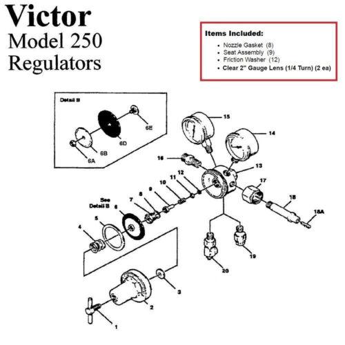 Victor 250-80-540 Oxygen Regulator Rebuild/Repair Parts Kit