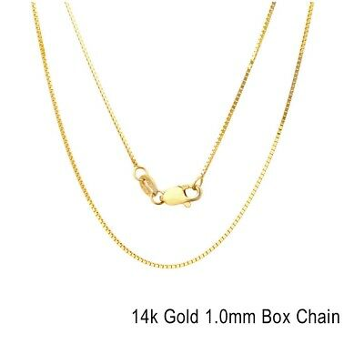 Real 14k Gold Box Chain 16,18,20,22,24 Inch 1mm Solid Yellow Gold Necklace ITALY