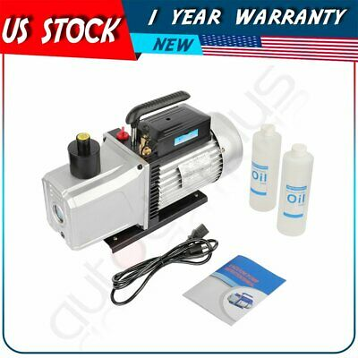 1 Hp Black 12 Cfm Rotary Vane Deep Vacuum Pump 110v Hvac Ac Refrigerant Charge