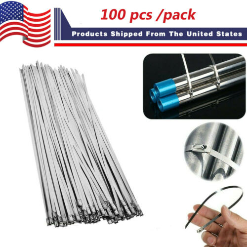 10Pcs Stainless Steel Metal Cable Ties Zip Wire Wraps Exhaust Straps ra