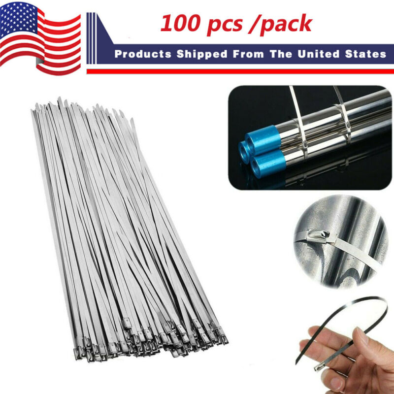 "100 Pcs Cable Zip Ties 304 Stainless Steel 12"" Exhaust Wrap Coated Metal Locking"