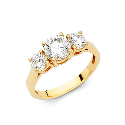 Real 14k Yellow Gold 3 Stone Round Solitaire CZ Engagement Wedding Ring Band
