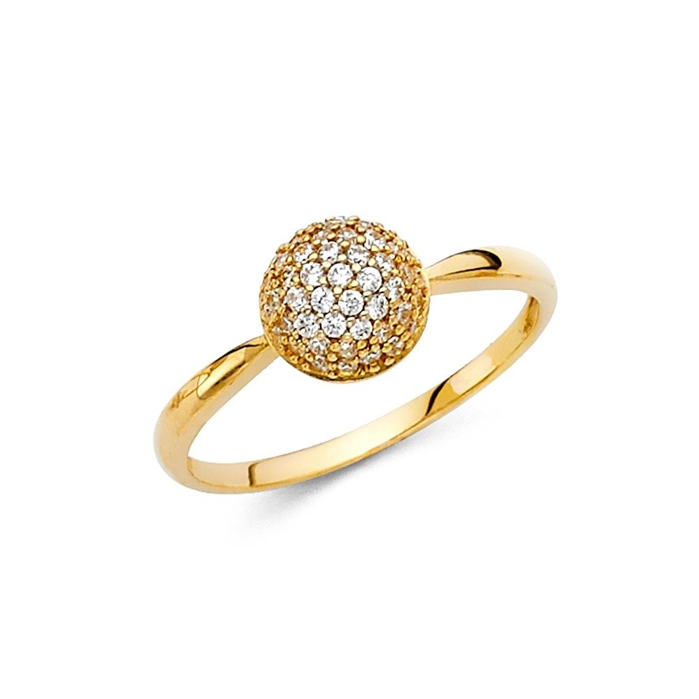 CZ Ball Ring Solid 14k Yellow Gold Round Band Style Fashion Fancy Cocktail